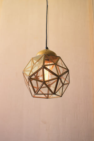 Small Geometric Antique Gold Finish Glass Pendant