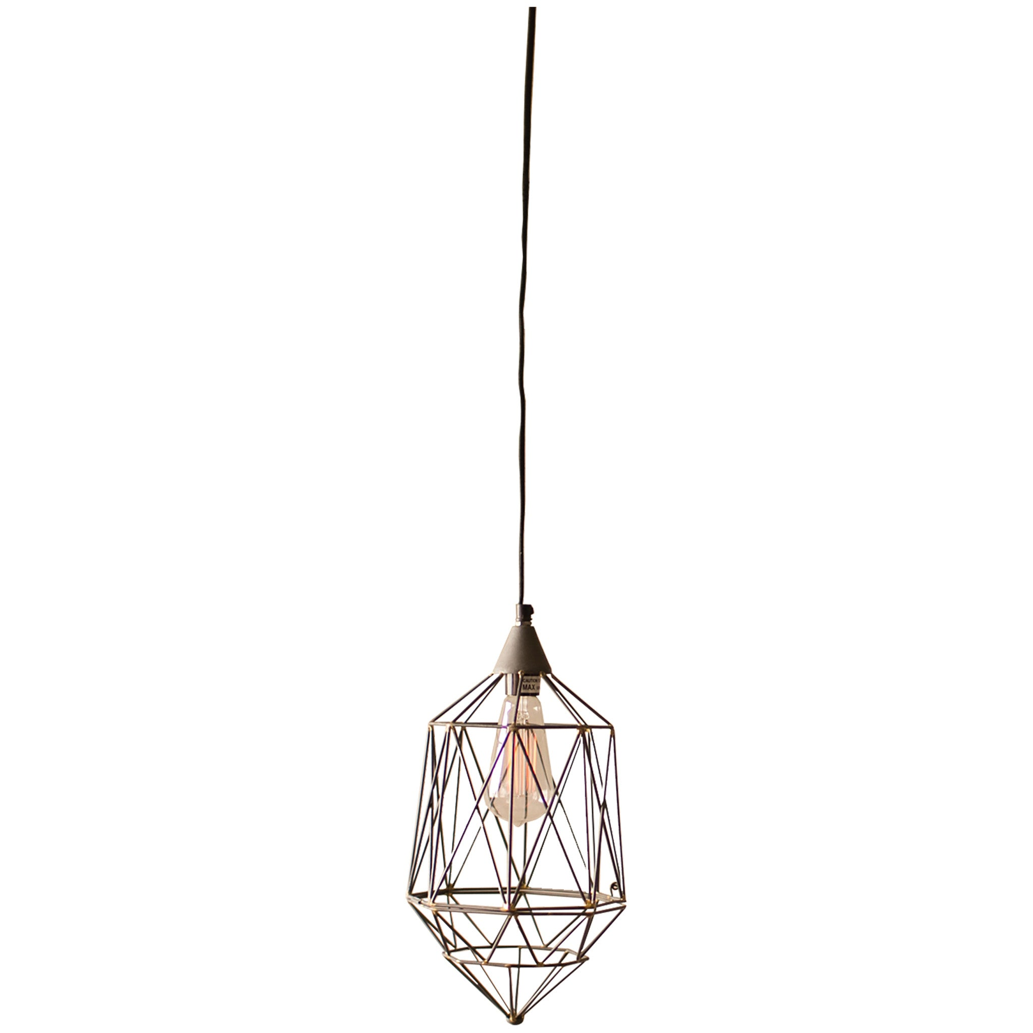 Small Geometric Wire Pendant Lamp - Woodwaves