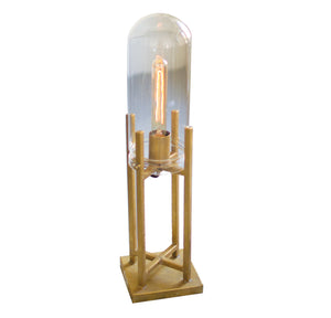 Small Gold Brass Finish Glass Dome Edison Table Lamp