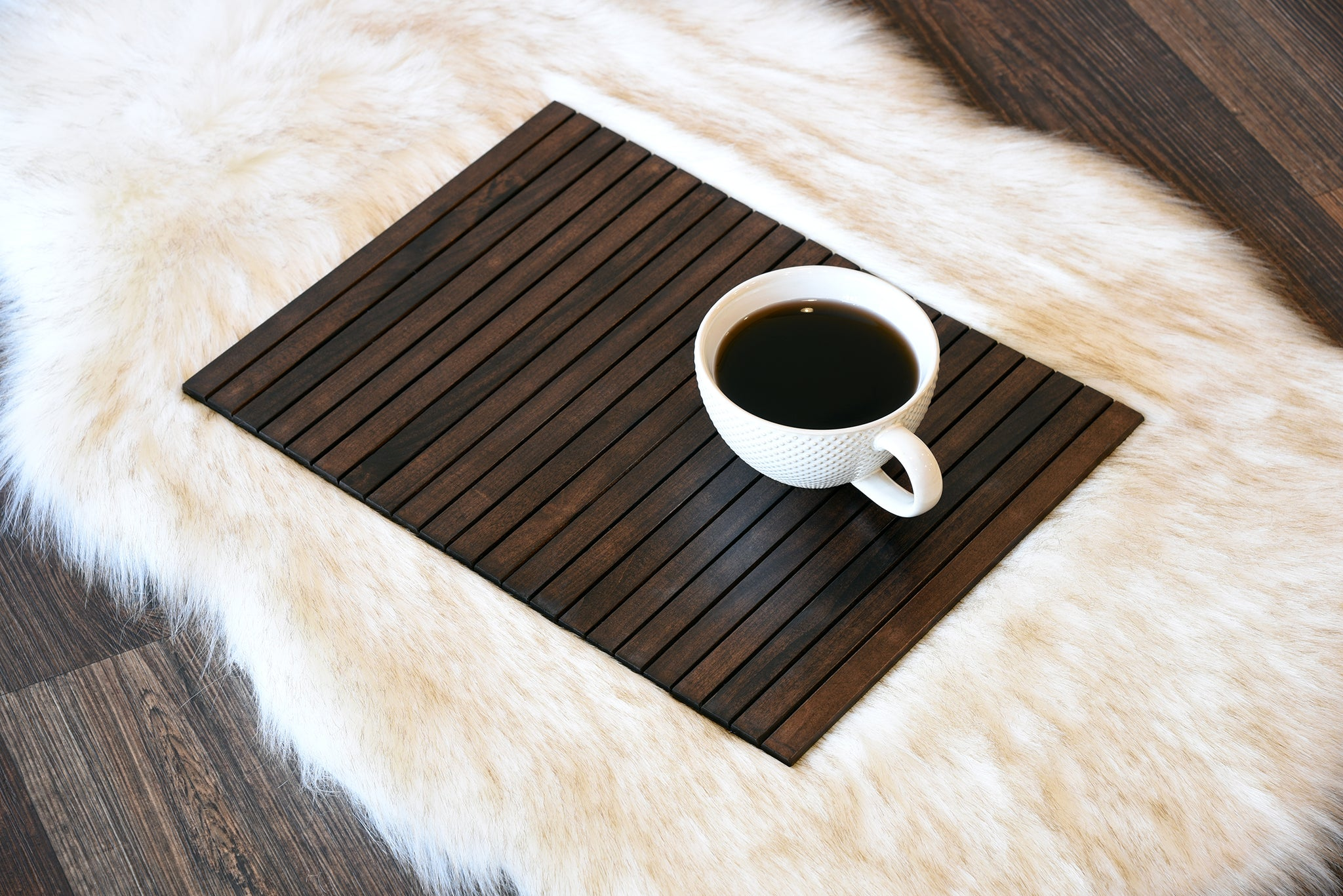 Sofa Tray Table Flexible Wood Slats - Dark Brown Espresso