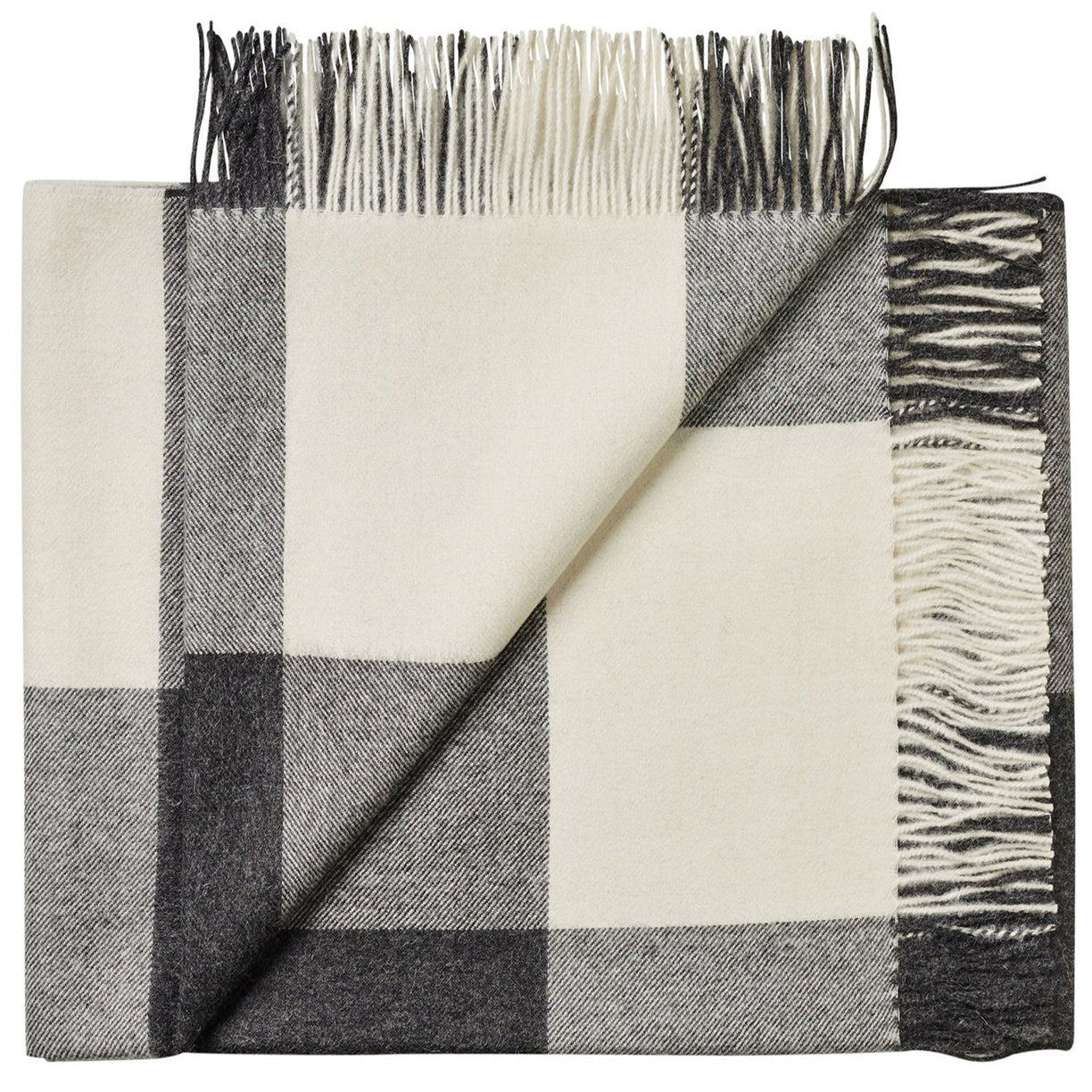 Soft Alpaca Wool Throw Blanket Black and White Plaid