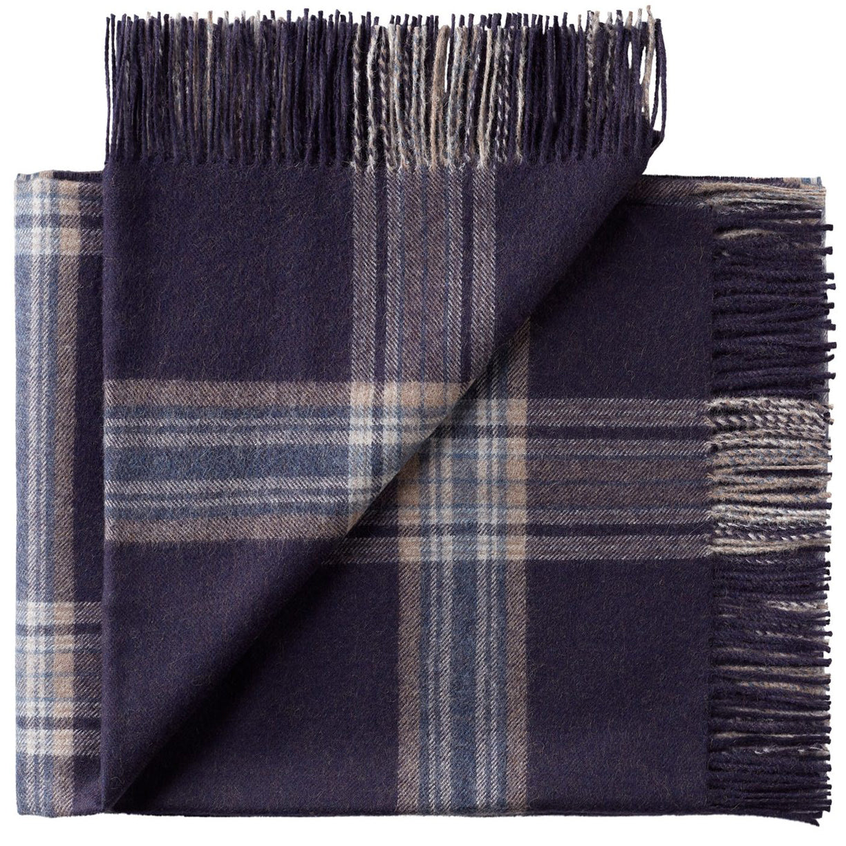 Soft Alpaca Wool Throw Blanket Blue and Tan Plaid