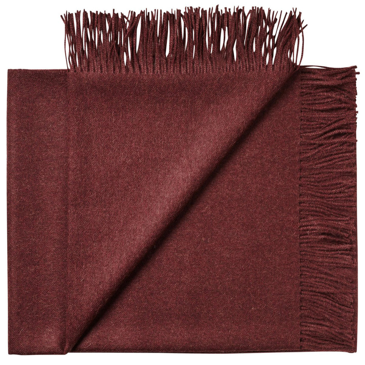 Soft Alpaca Wool Throw Blanket Bordeaux Red