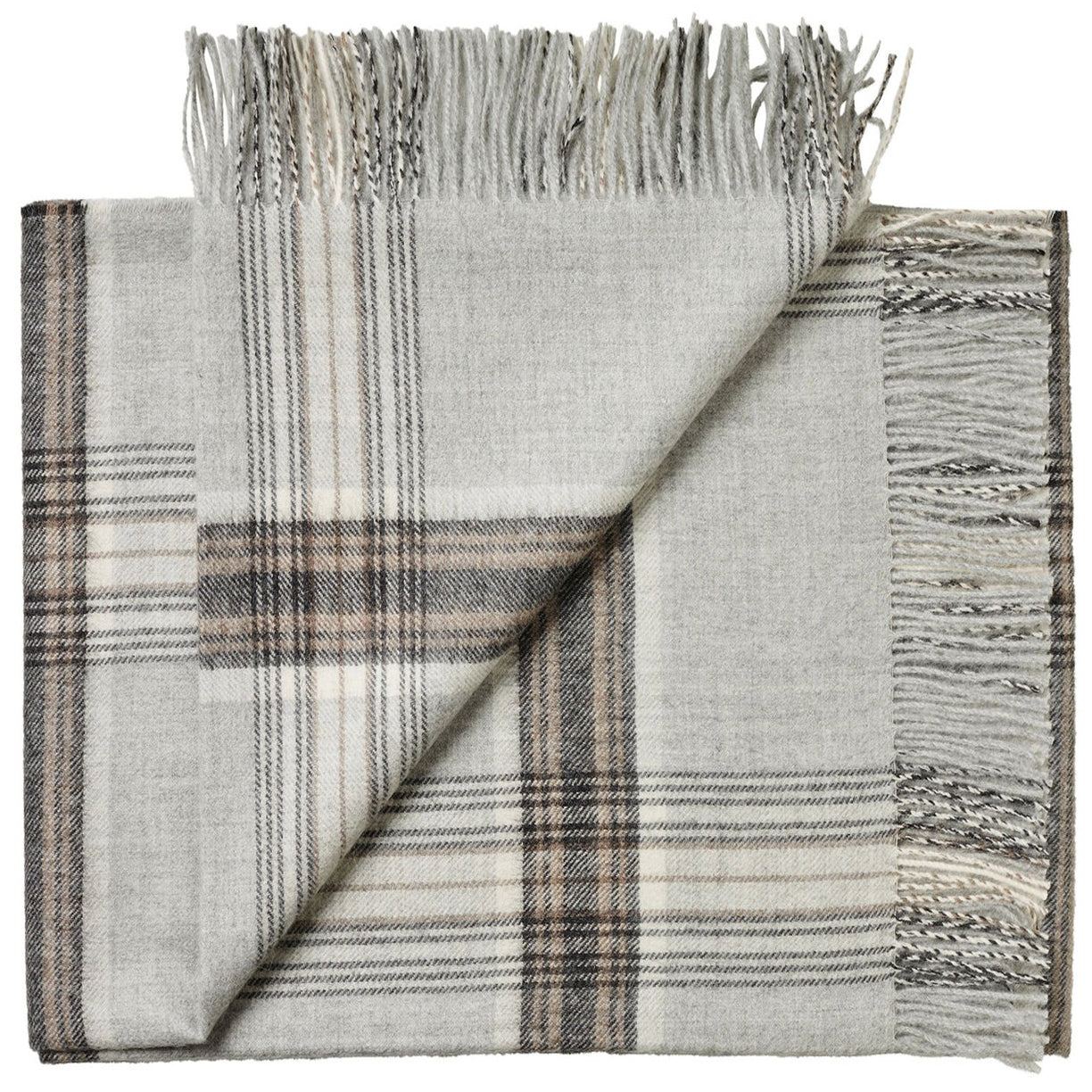 Soft Alpaca Wool Throw Blanket Light Gray and Tan Plaid