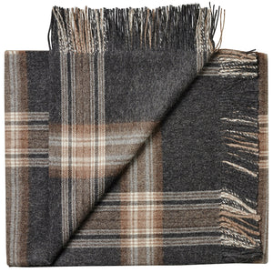 Soft Alpaca Wool Throw Blanket Dark Gray and Tan Plaid