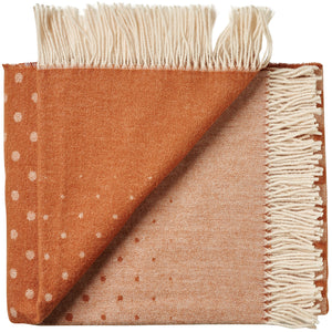 Soft Alpaca Wool Modern Throw Blanket Beige White and Orange Dots