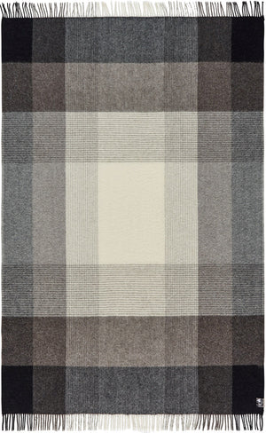 Soft Alpaca Wool Throw Blanket Black Gray and Brown Plaid