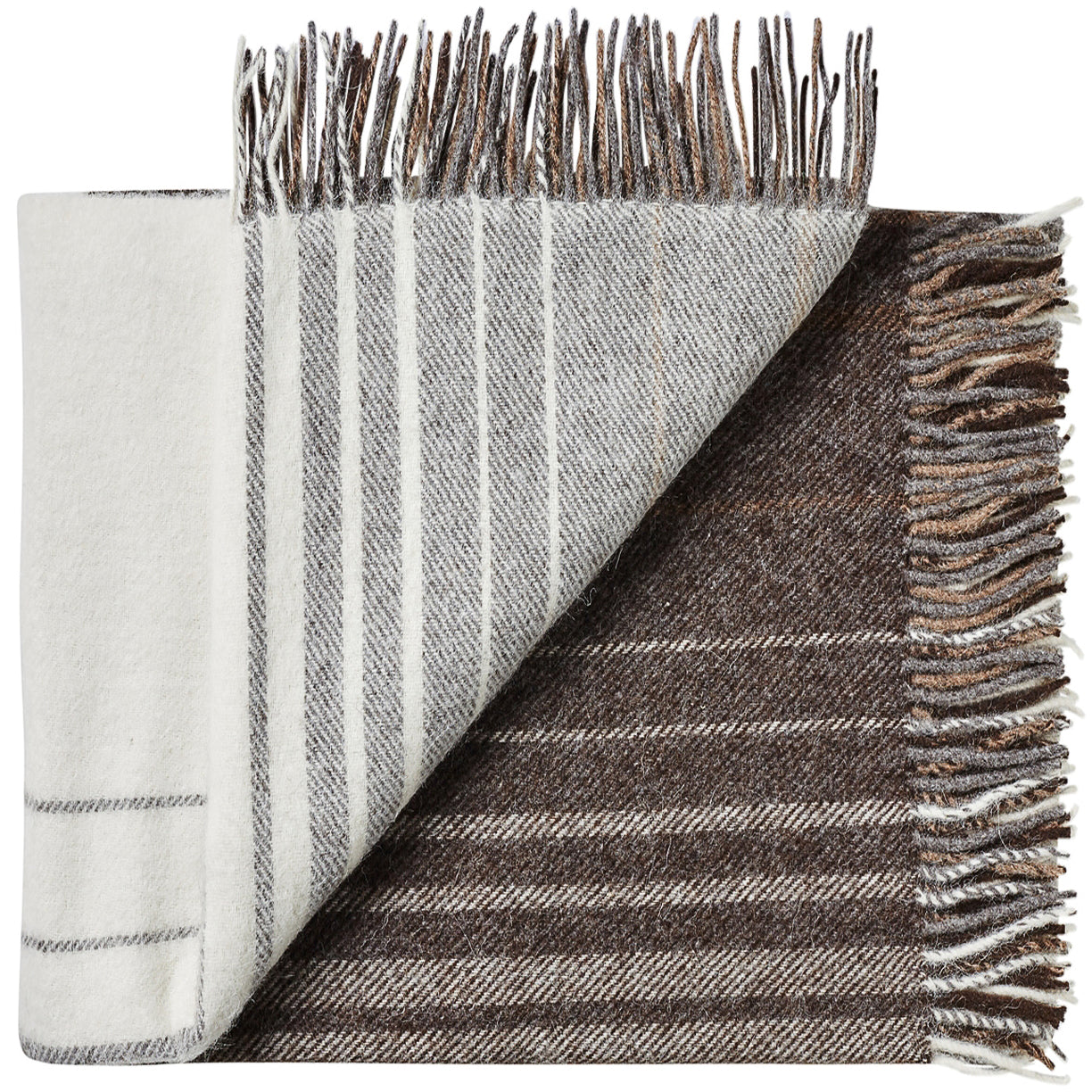 Soft Alpaca Wool Throw Blanket Brown and Tan Plaid