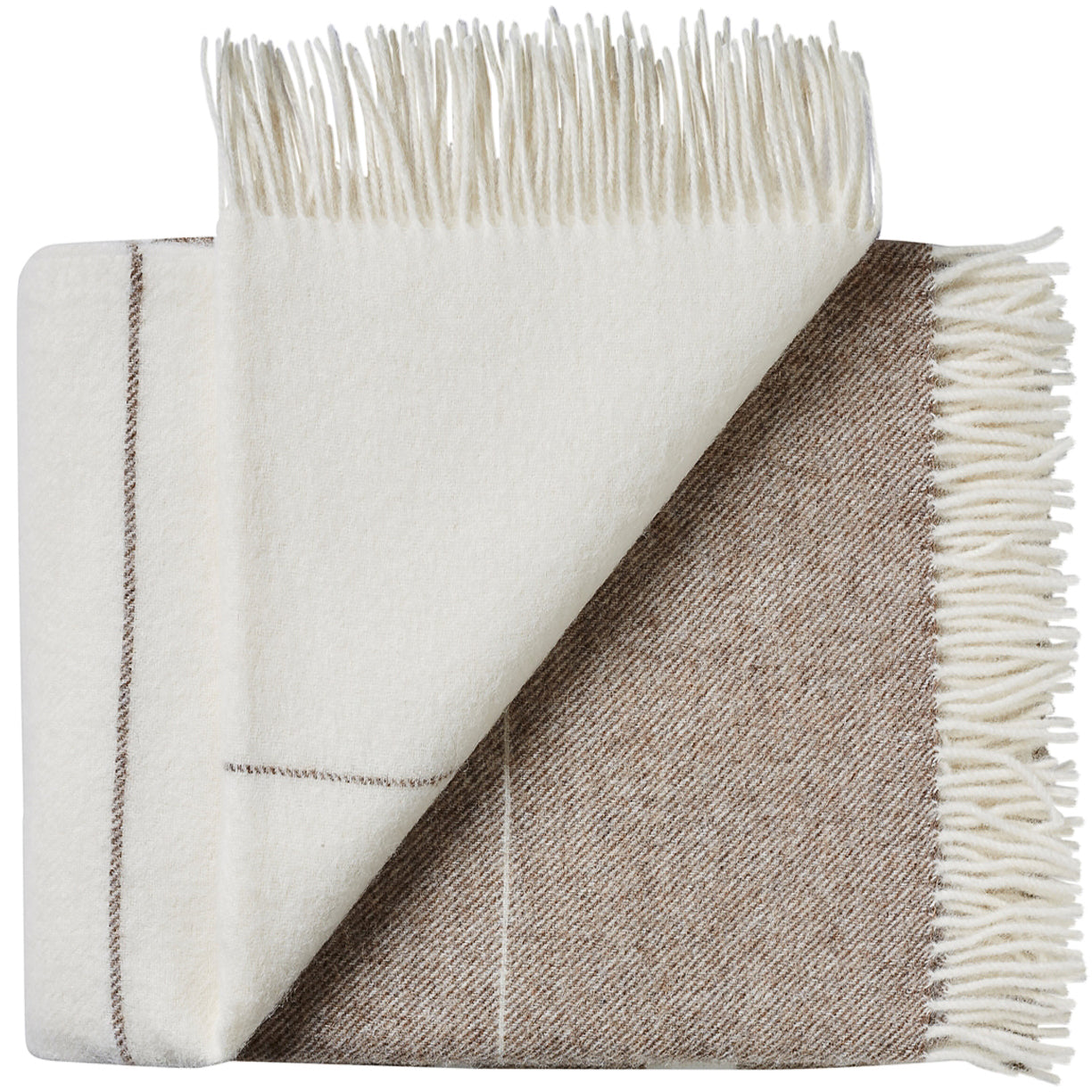 Soft Alpaca Wool Throw Blanket White and Tan Brown Stripes