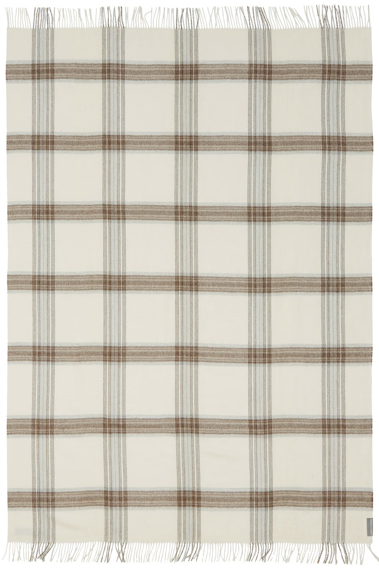 Soft Alpaca Wool Throw Blanket White and Tan Plaid