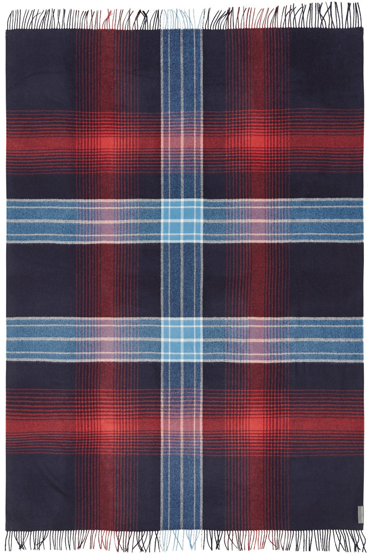 Soft Alpaca Wool Throw Blanket Blue and Red Plaid