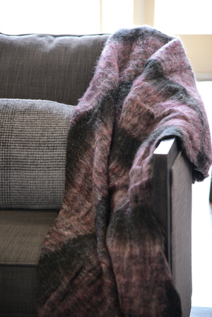 Fuzzy Handmade Purple and Black Throw Blanket