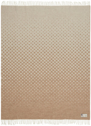 Soft Alpaca Wool Modern Throw Blanket Beige White and Tan Dots