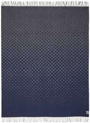 Soft Alpaca Wool Modern Throw Blanket Navy Blue and Dark Gray Dots