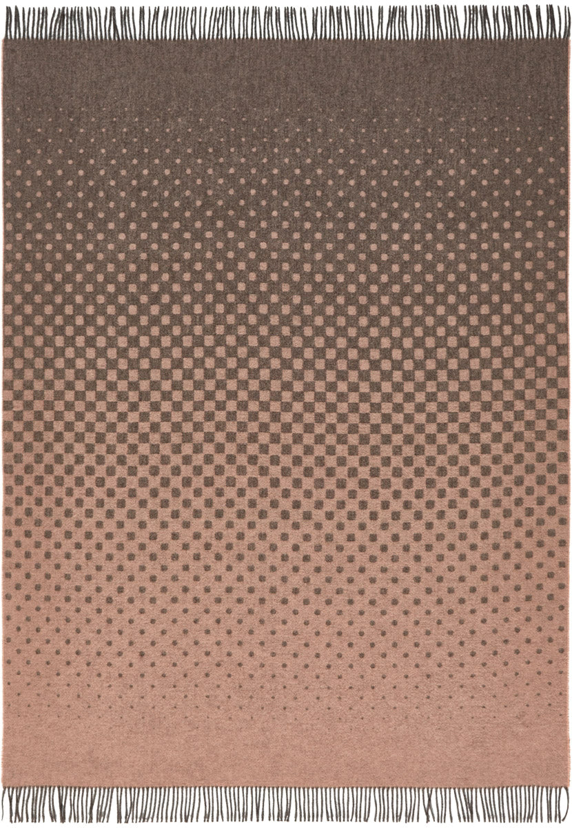 Soft Alpaca Wool Modern Throw Blanket Rose Pink and Dark Gray Dots