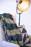Modern Blue and Gray Handcrafted Striped Throw Blanket