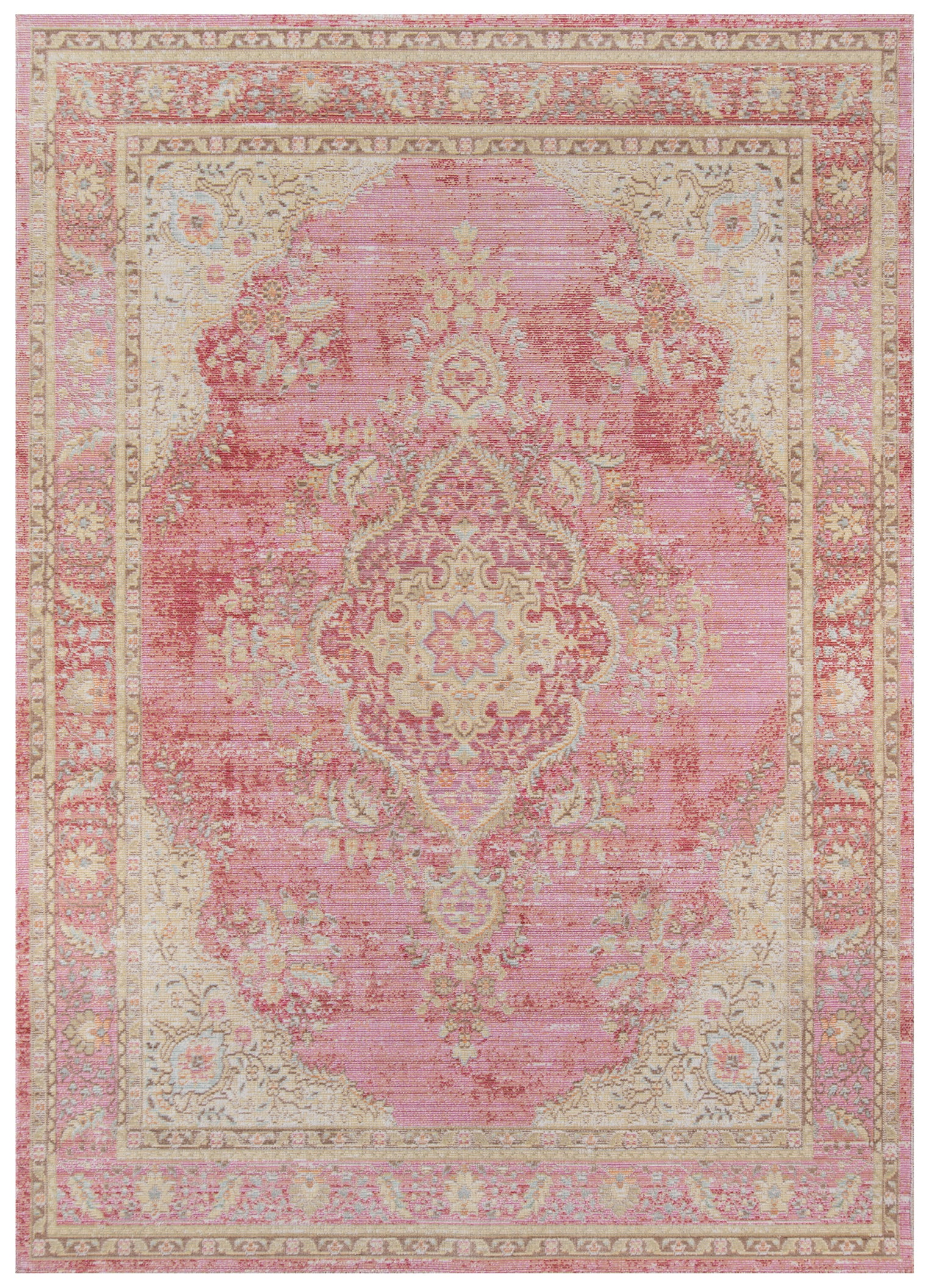 Vintage Style Faded Pink Area Rug