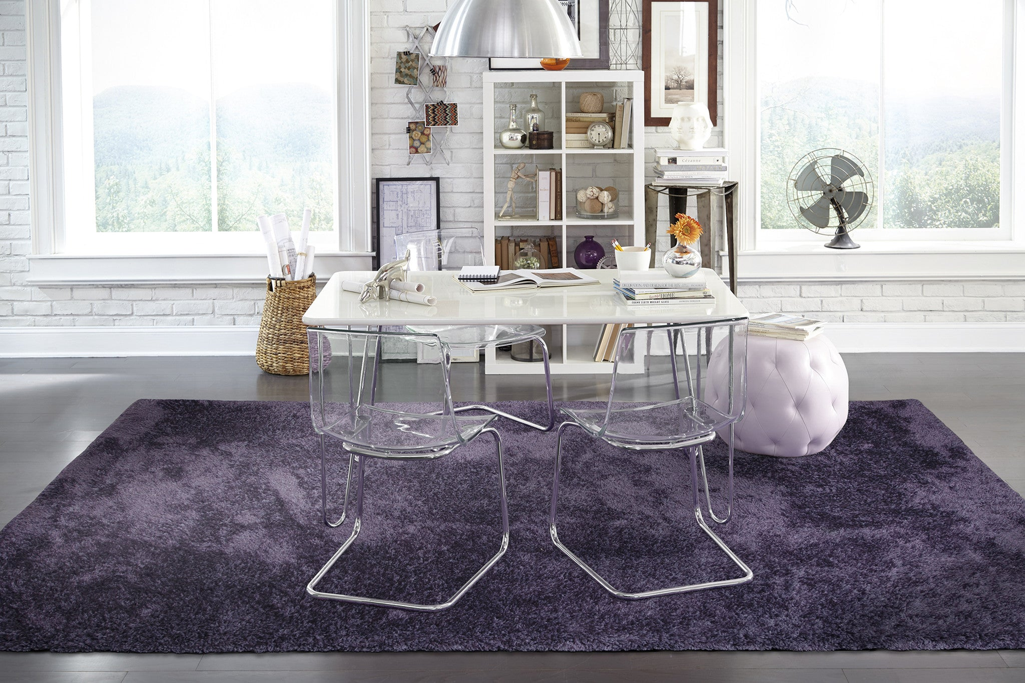 Solid Purple Violet Shag Rug