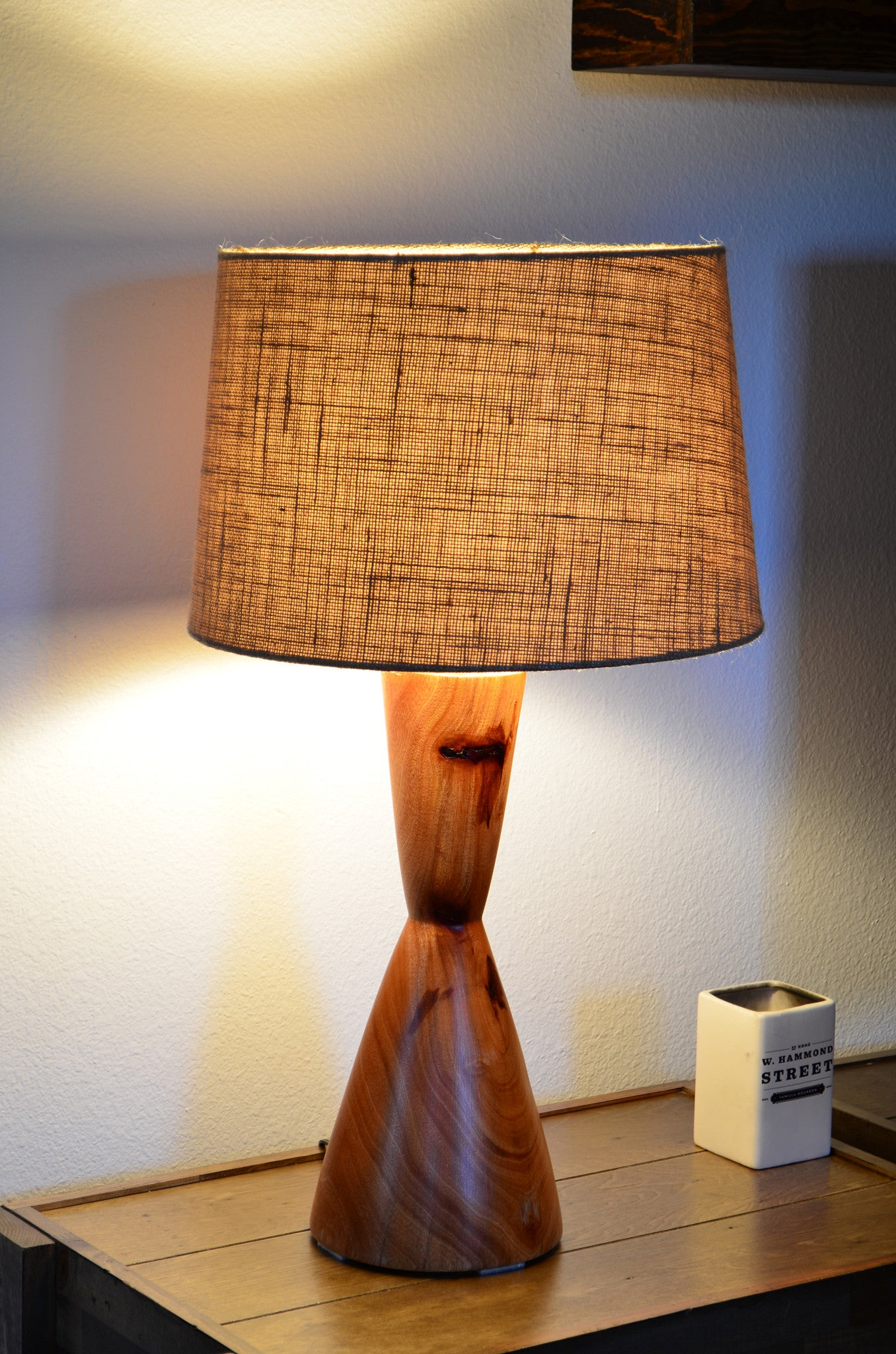 Wood turned mid century modern table lamp hourglass natural wood turned mid century modern table lamp hourglass natural geotapseo Choice Image