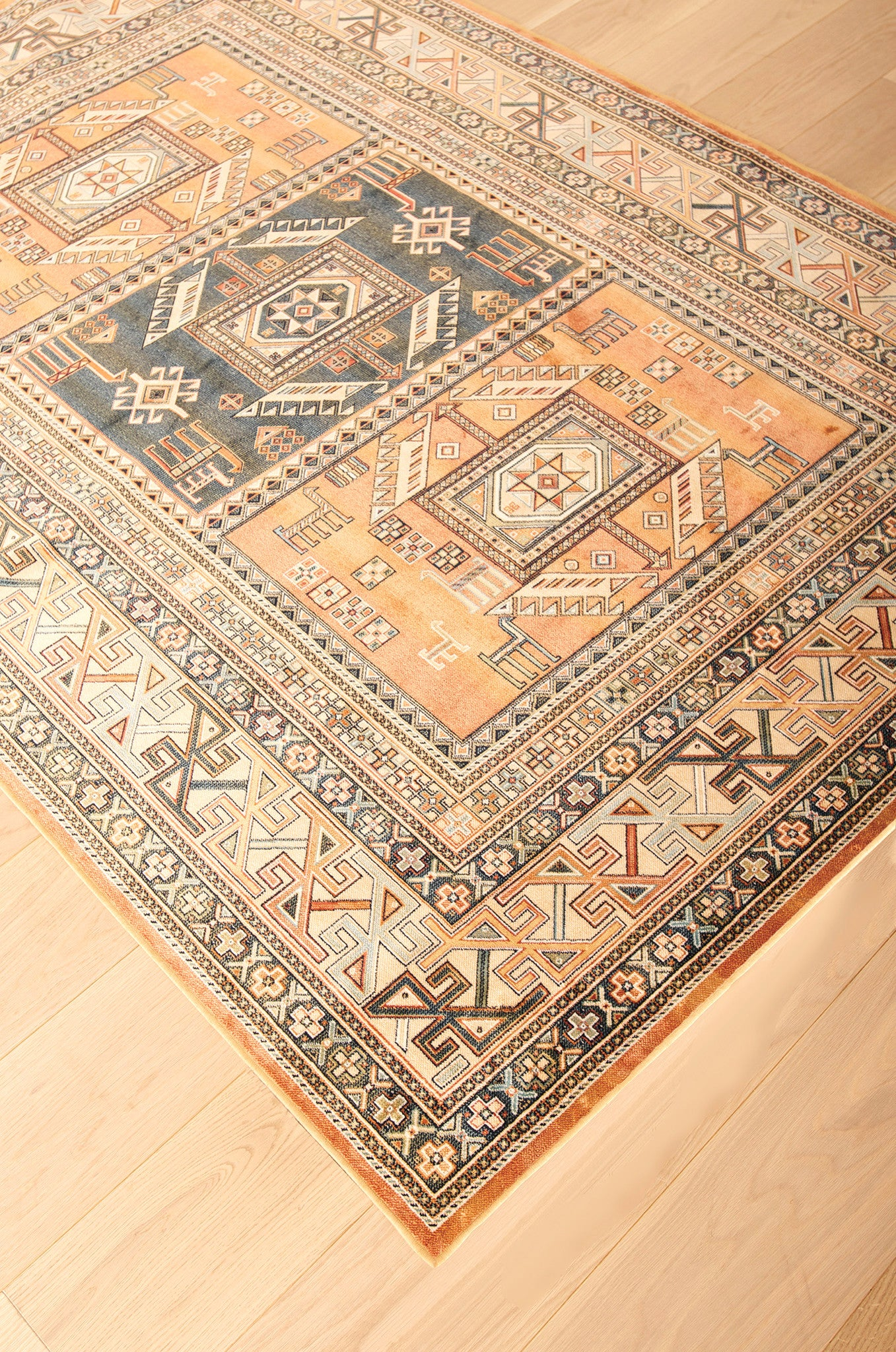 Southwest Santa Fe New Mexico Copper Colored Rug - Woodwaves