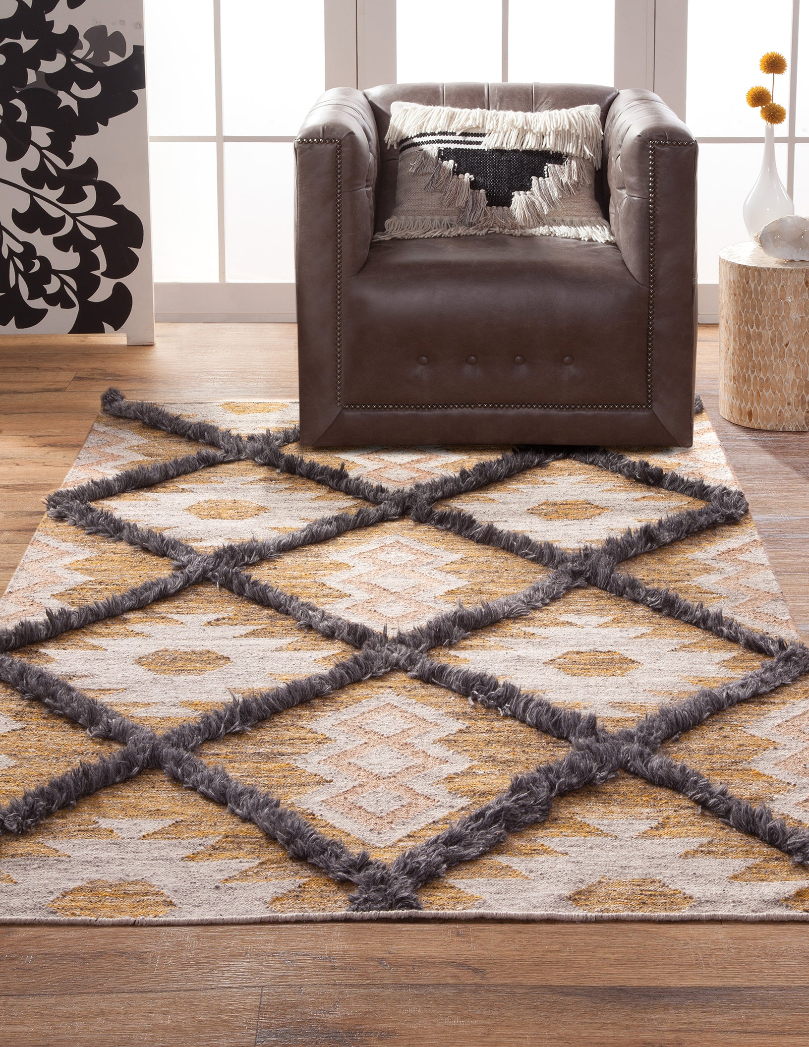 Picture of: Southwest Bohemian Tan Ivory Gray Flatweave Wool Area Rug Woodwaves