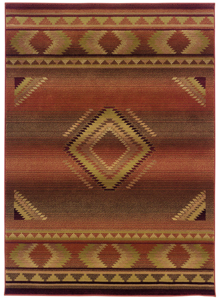 Red Orange New Mexico Southwest Rug Woodwaves