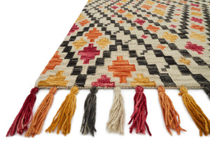 Southwest New Mexico Pink Orange Gray Tassel Rug