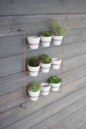 Southwest Boho Hanging Succulent Wall Planter With 9 White Clay Pots