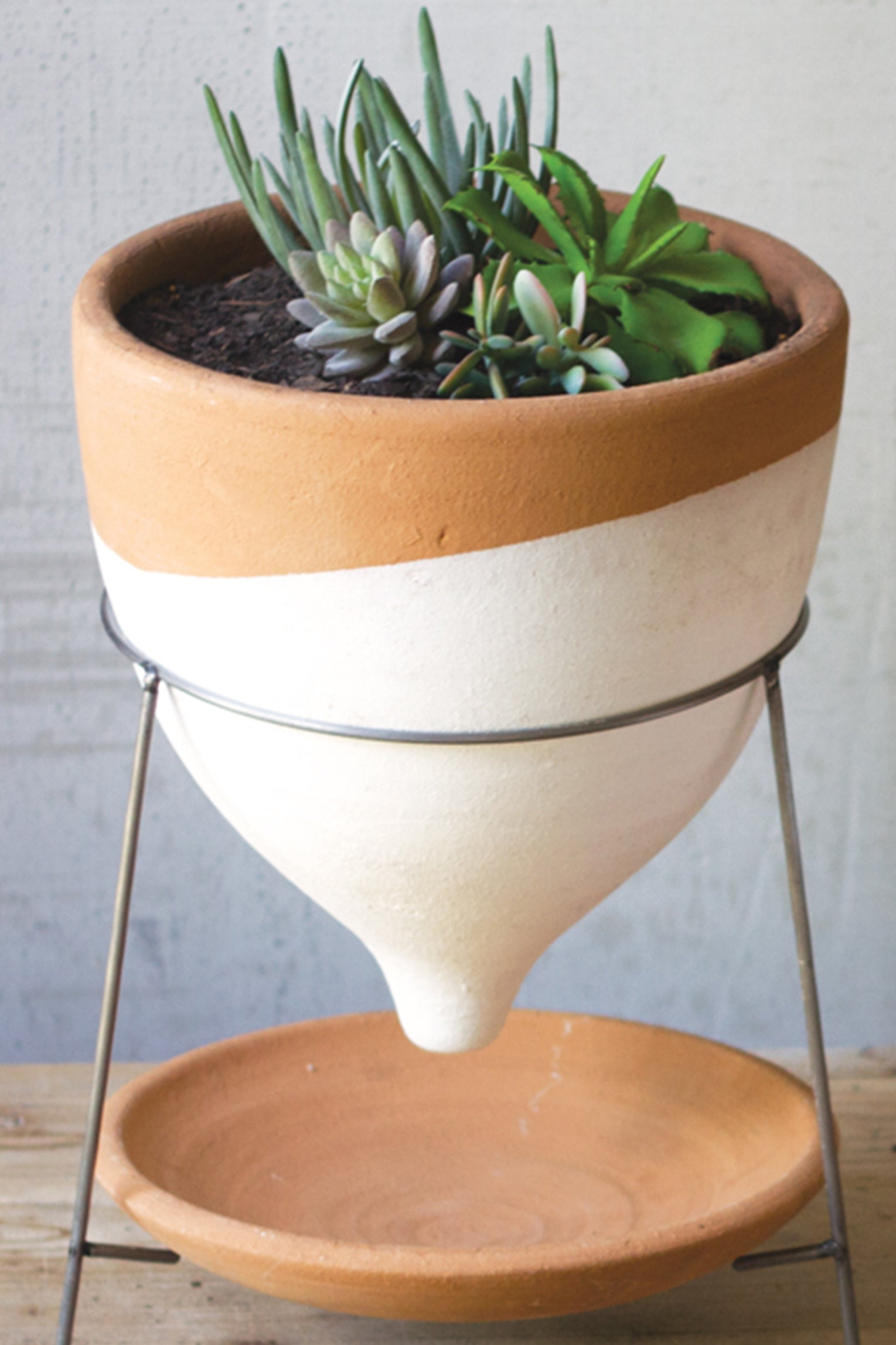 Southwest Terracotta Clay Succulent Planter With Stand