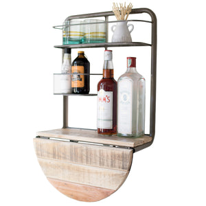 Space Saving Drop Leaf Wall Mount Floating Mini Bar Organizer Shelf
