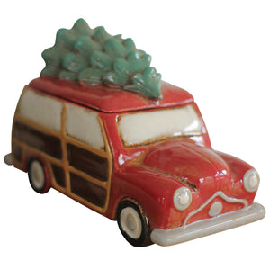 Station Wagon with Christmas Tree Ceramic Canister