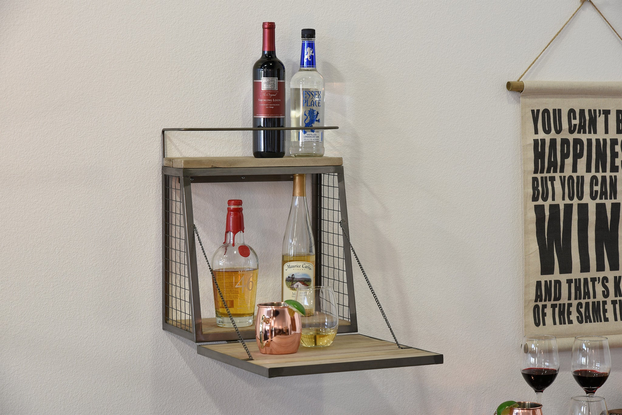 Floating Wall Mount Mini Bar Wine Liquor Shelf Woodwaves
