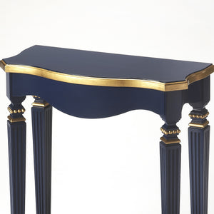 Dark Navy Blue Entry Table With Gold Finish Accents