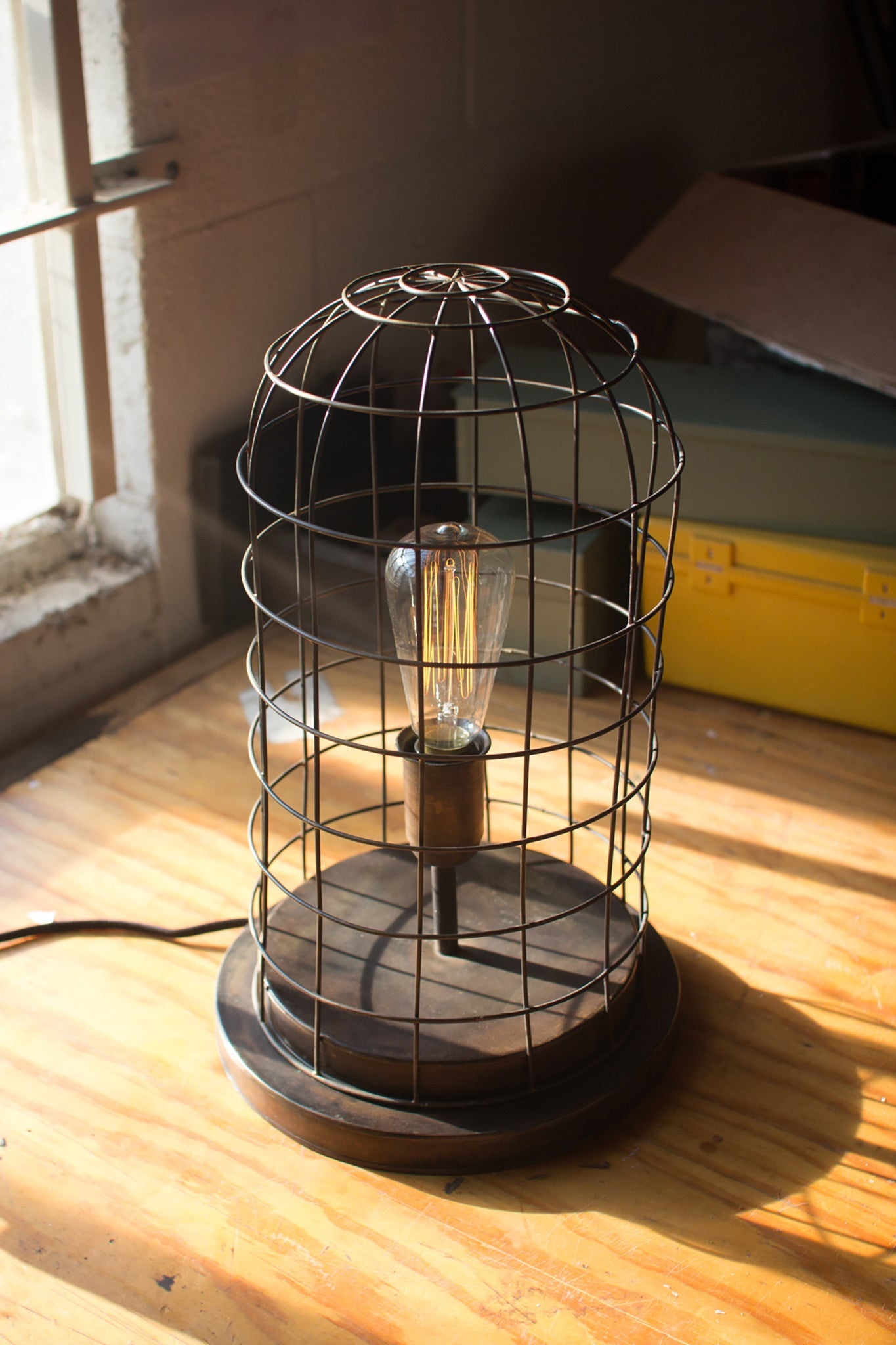 Farmhouse industrial modern wire caged desk table lamp woodwaves aged brass finish edison wire cage accent lamp greentooth Choice Image