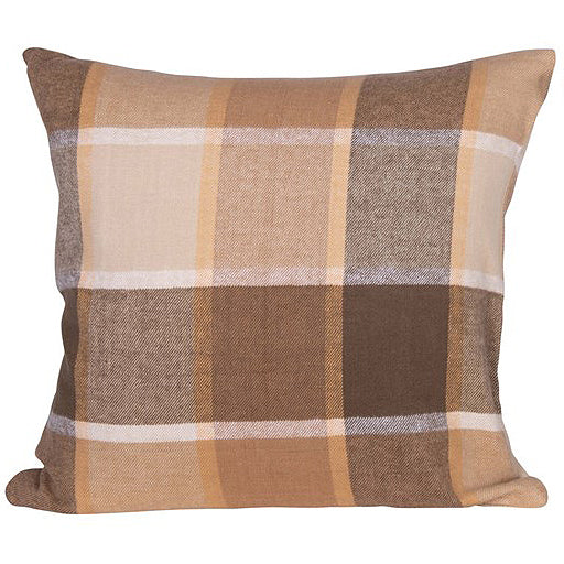 Tan & Brown Plaid Pillow