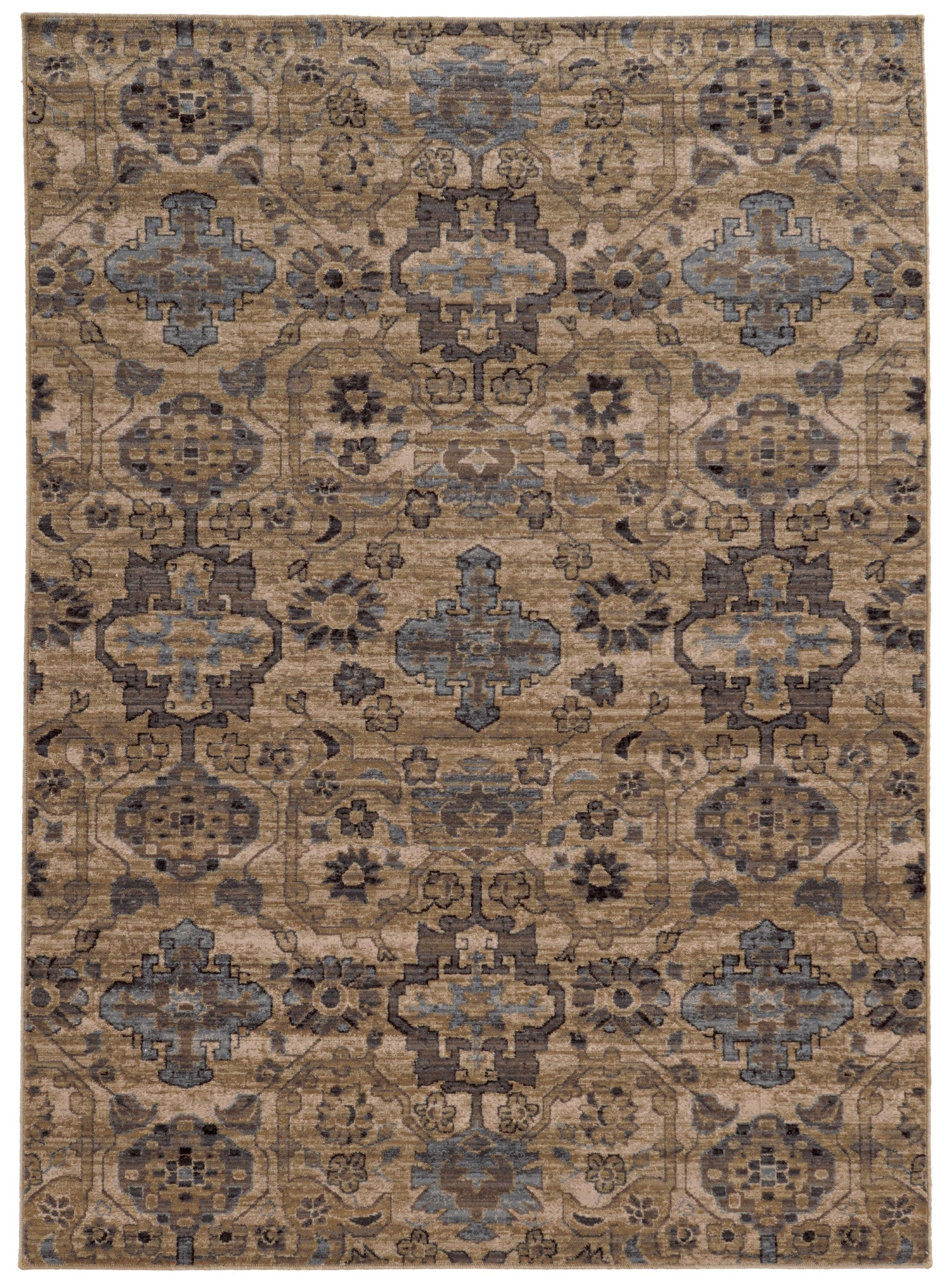 tan and light blue global distressed pattern wool area rug - woodwaves