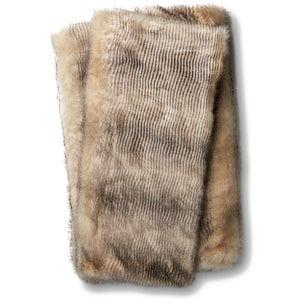 Tan and Brown Faux Fur Throw Blanket