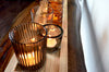 Glass Tealight Candle Holders With Wood Tray