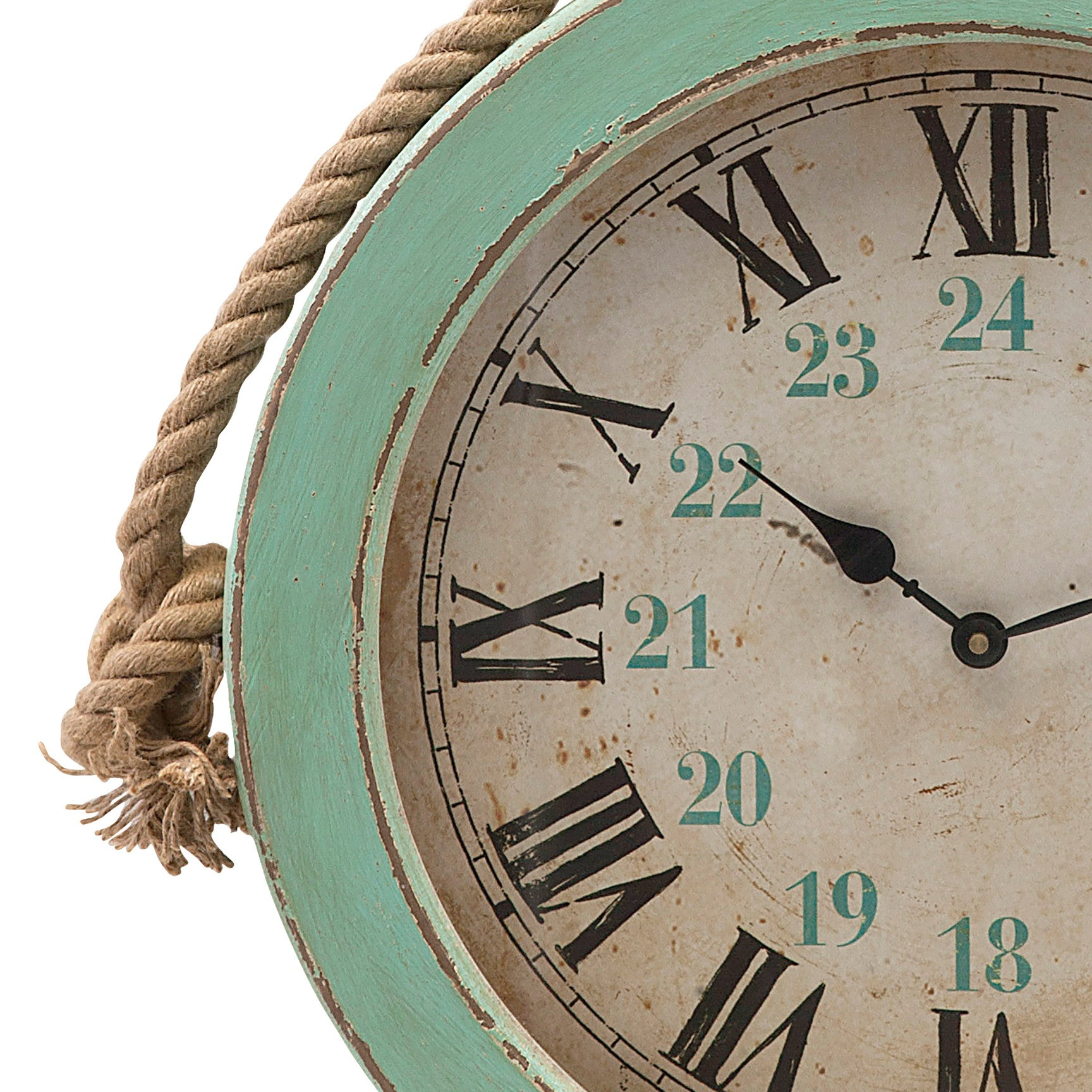 Rustic Teal Coastal Wall Clock With Rope Woodwaves