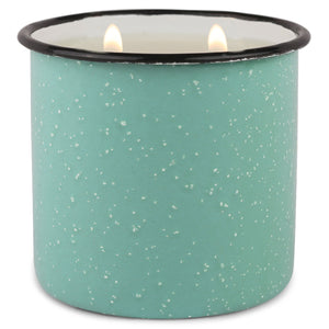 Teal Enamel Camping Mug Candle - Fresh Air & Sea Salt - Coastal Scented