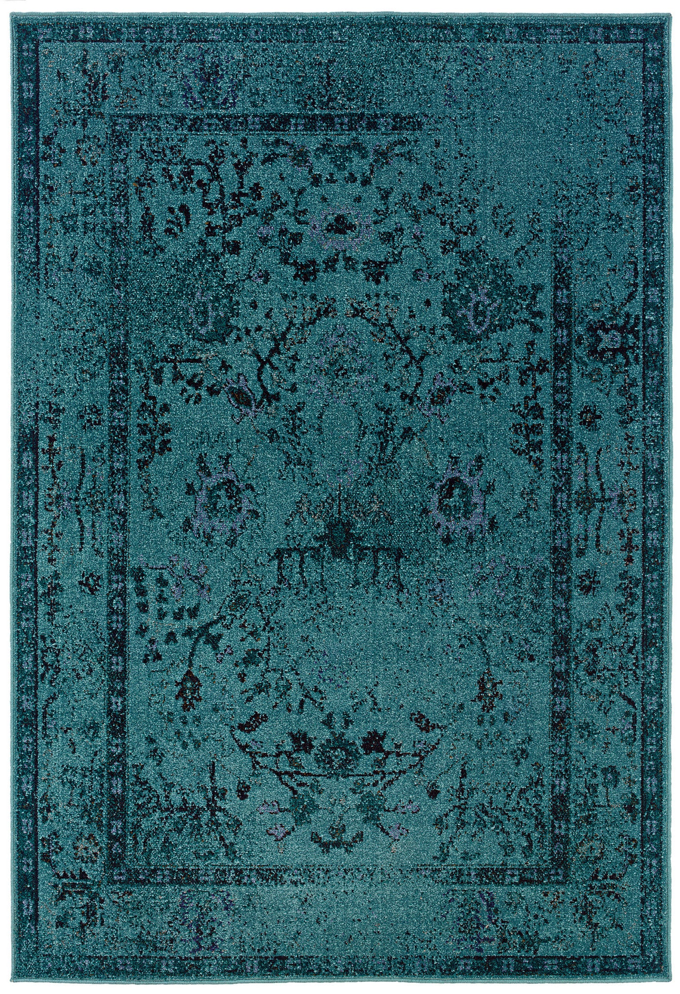 Teal Blue Overdyed Style Area Rug Woodwaves