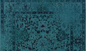 Teal Blue Overdyed Style Area Rug