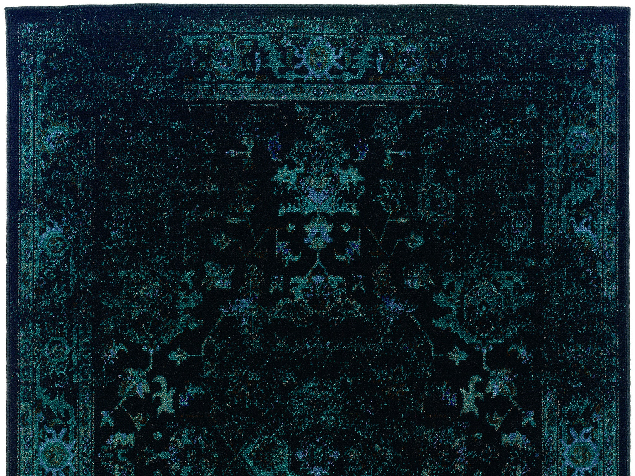 Greatest Dark Teal Blue and Black Worn Overdyed Rug - Woodwaves KS32