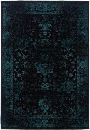 Dark Teal Blue and Black Worn Overdyed Rug