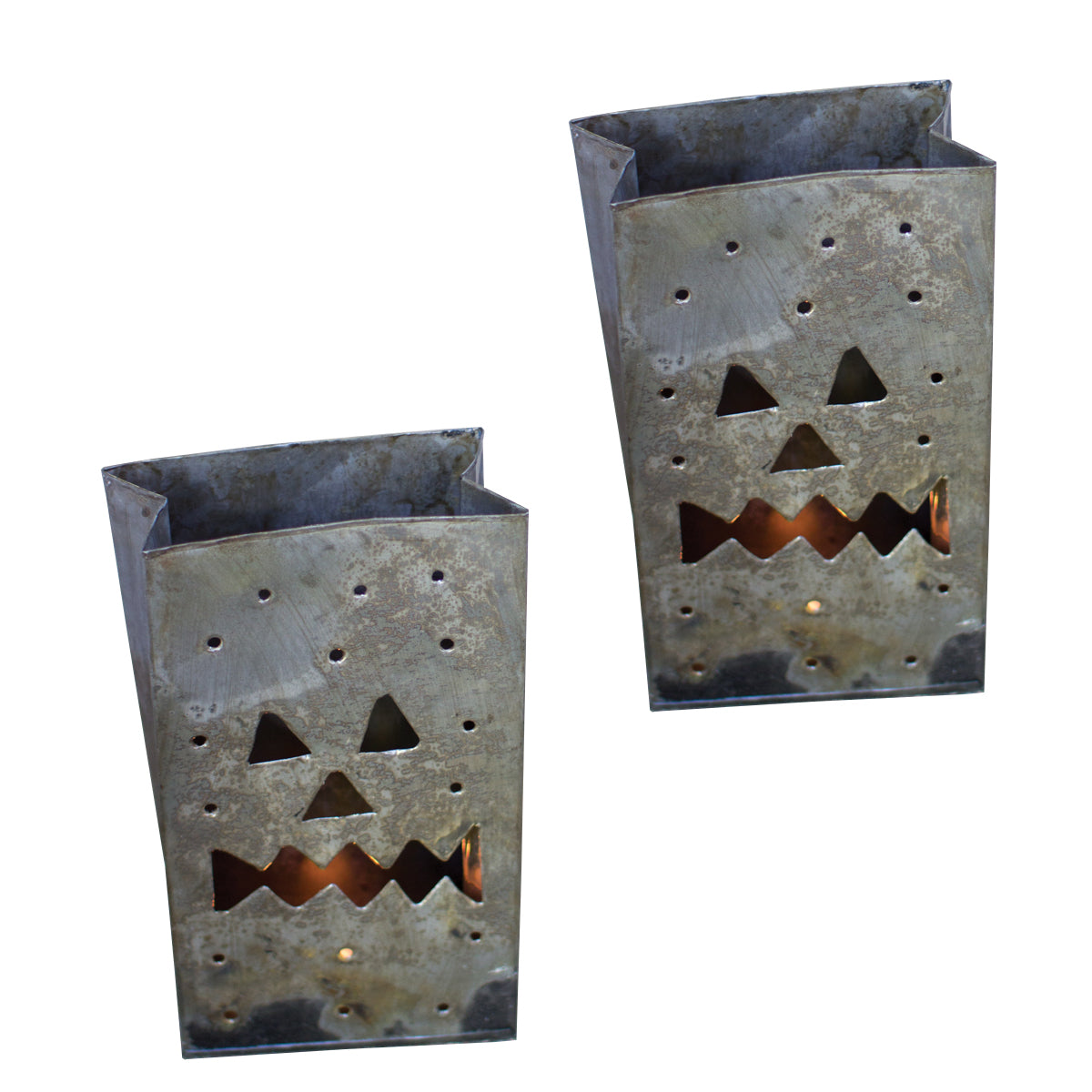 Tin Jack O Lantern Candle Holders - Set of Six