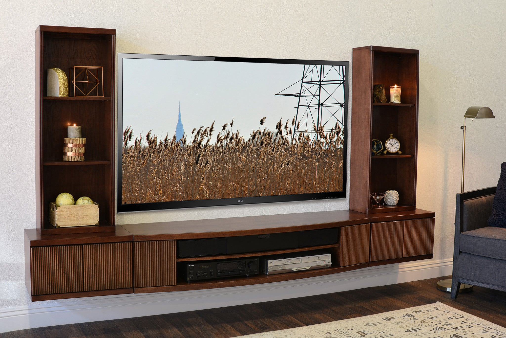 floating tv stand wall mount entertainment center curve 5 piece mo woodwaves. Black Bedroom Furniture Sets. Home Design Ideas