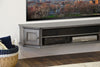 French Cottage Transitional Floating TV Stand Console - Vintage - Driftwood Gray