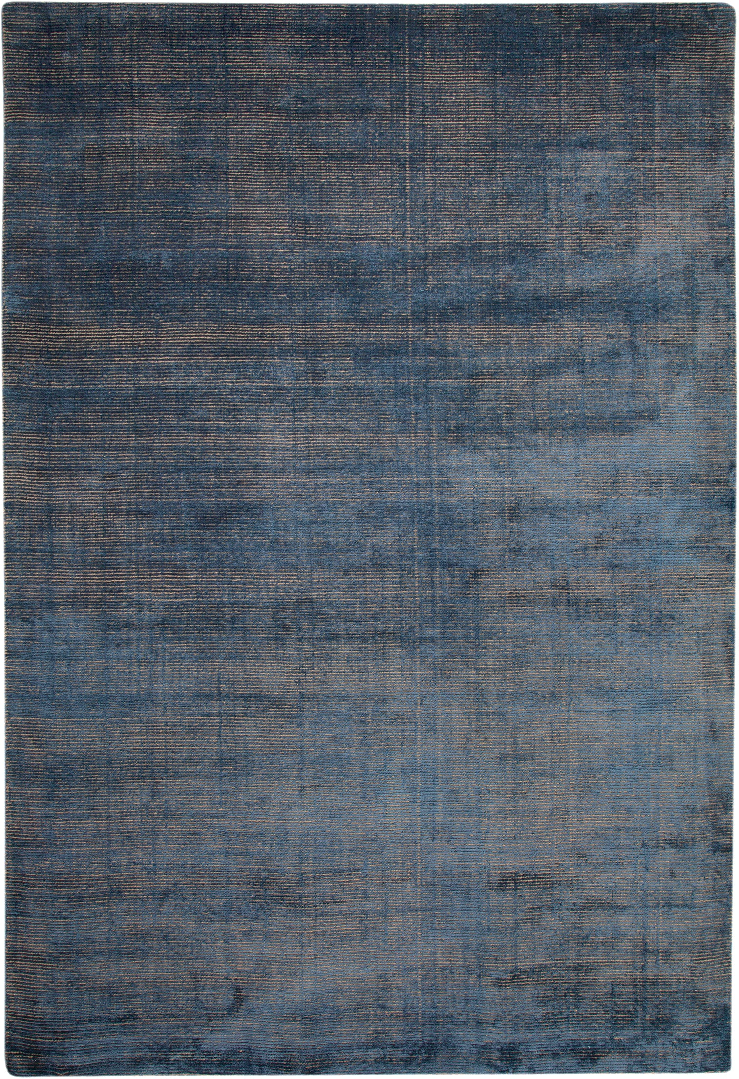Faded Indigo Blue Wool Area Rug