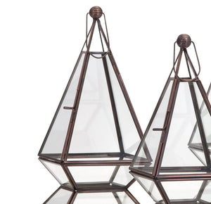 Glass Triangular Terrariums Succulent Air Plant Planters - Set of 3