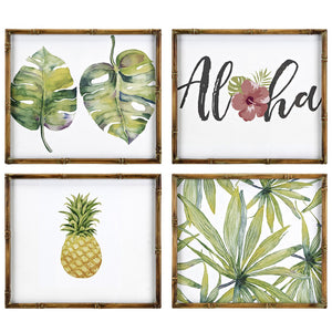 Tropical Boho Leaf Aloha Pineapple Wall Art - Set of 4
